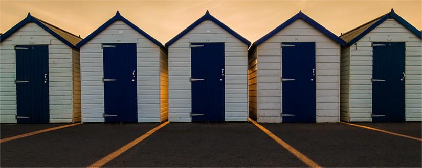 Evening beach huts