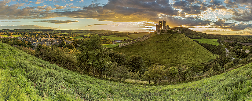 Corfe Castle Panoramic sunset