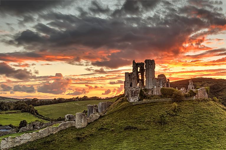 Sunset over Corfe Castle 2