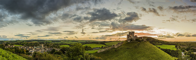 Corfe Castle sunset panoramic