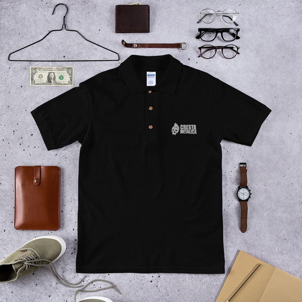 Cresta Metalica Embroidered Black Polo Shirt - Cresta Store - Deskarriados