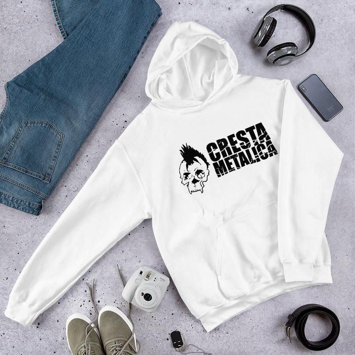 Cresta Metalica White Unisex Hoodie - Cresta Store - Deskarriados