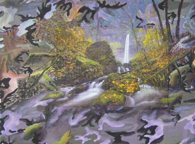 Mario Perez Cascada con paisaje otoñal-Óleo, acrílico y rompecabezas sobre tela de camuflaje-2012-90cm x 130cm