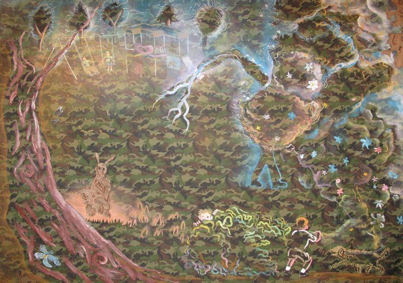 Mario Perez El Escondite (Fecha 2010- Pintura textil y collage sobre camuflaje) - 200 cm de ancho x 165 cm de alto