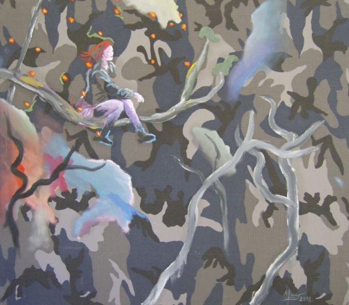 Autor Mario Pérez-Jardinera sobre una rama-2013-óleo sobre camuflaje-92,5cm x 83,6cm