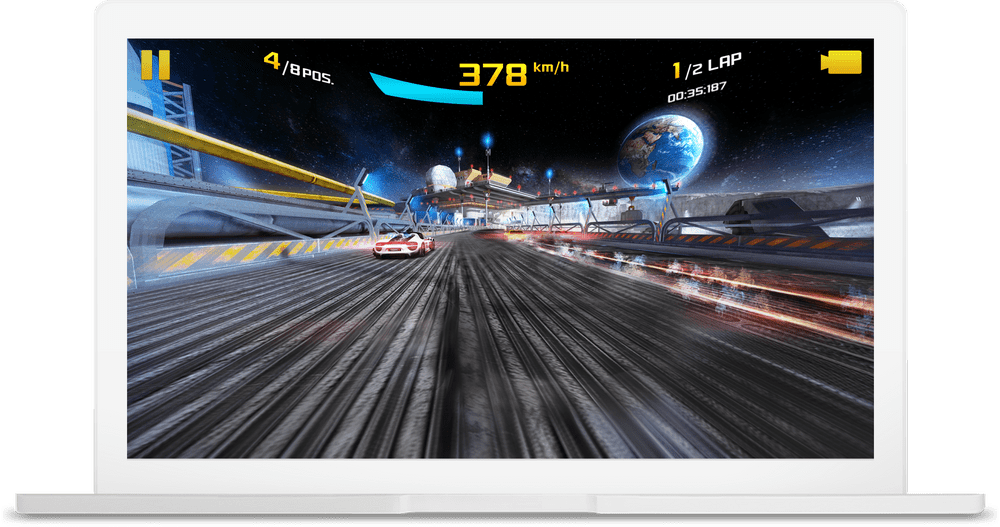 Chromebook showing Asphalt 8 being played.