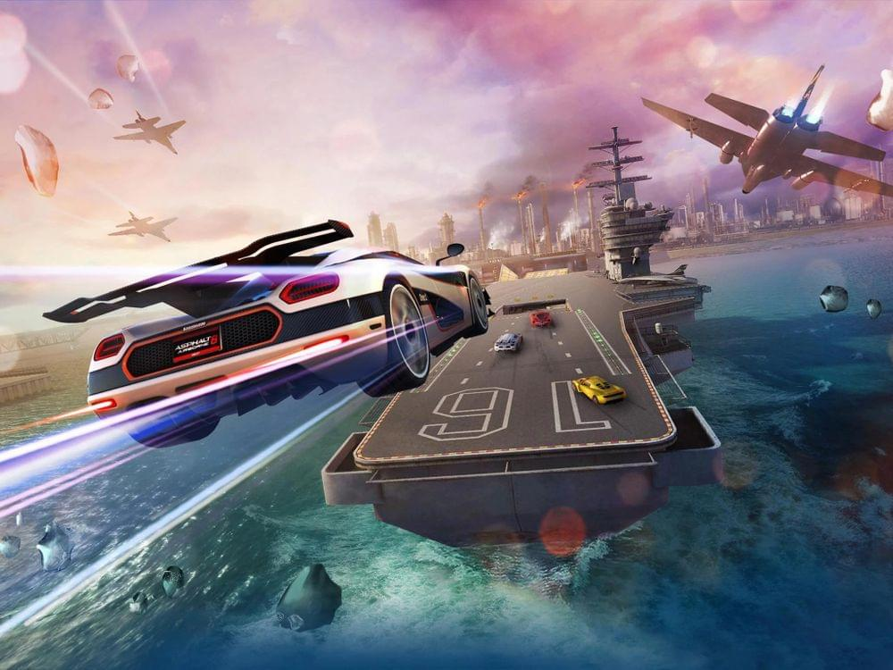 Game illustration of a car jumping to a navy aircraft carrier.