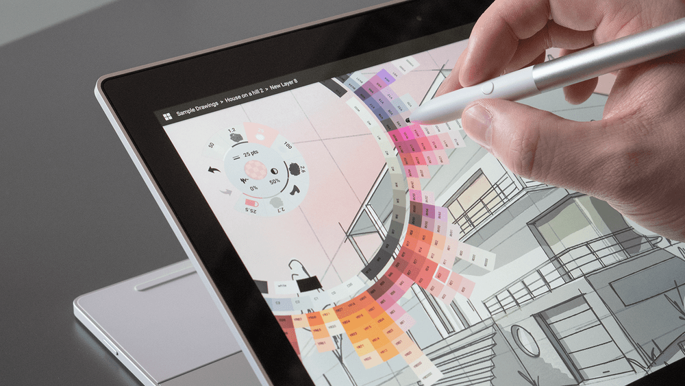 Screen interaction with stylus pen.