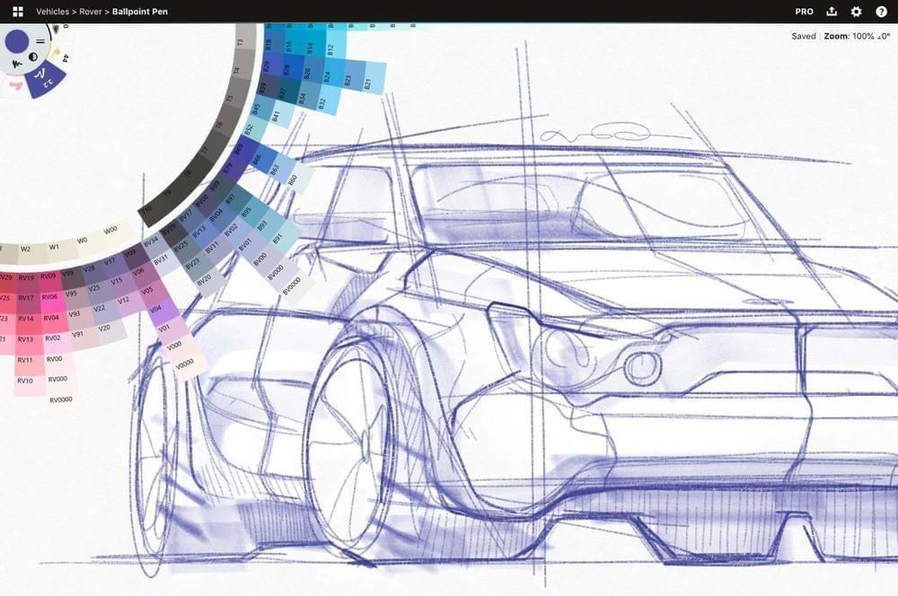 Concepts Car sketch showing color wheel