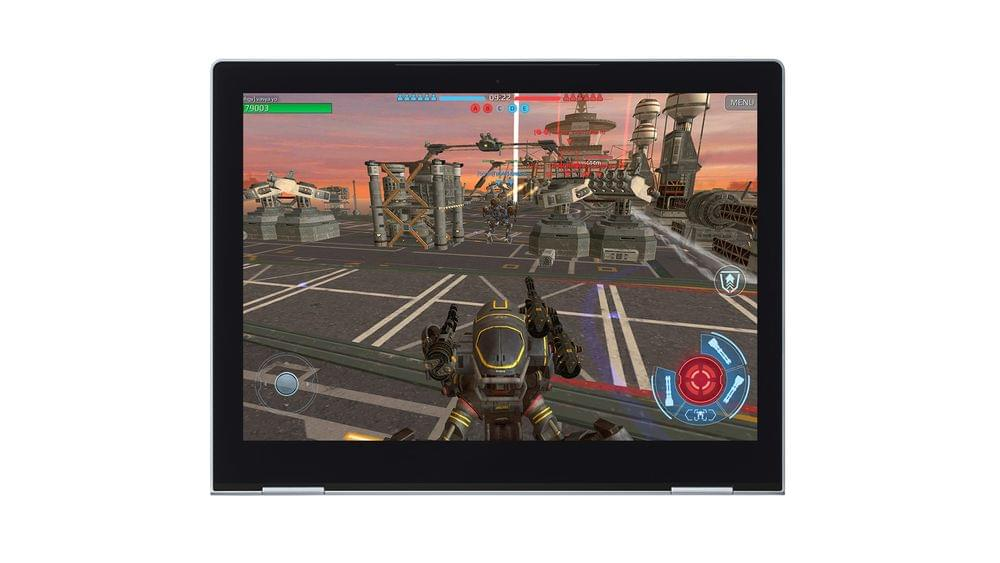 A tablet device showing war robots gameplay.