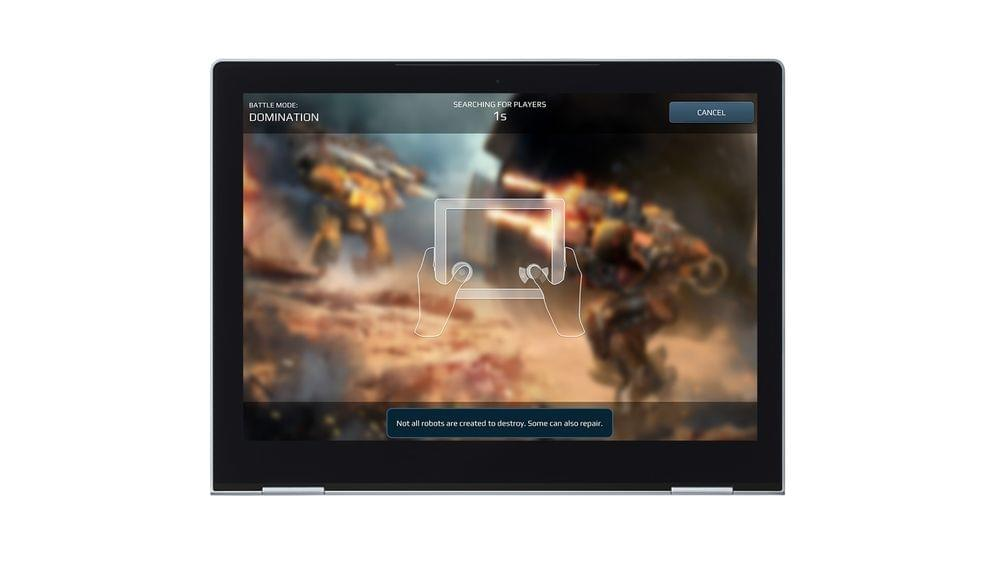 A tablet device with touchscreen showing war robots gameplay.
