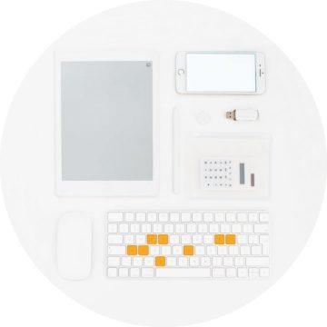 Rond digital wit oranje