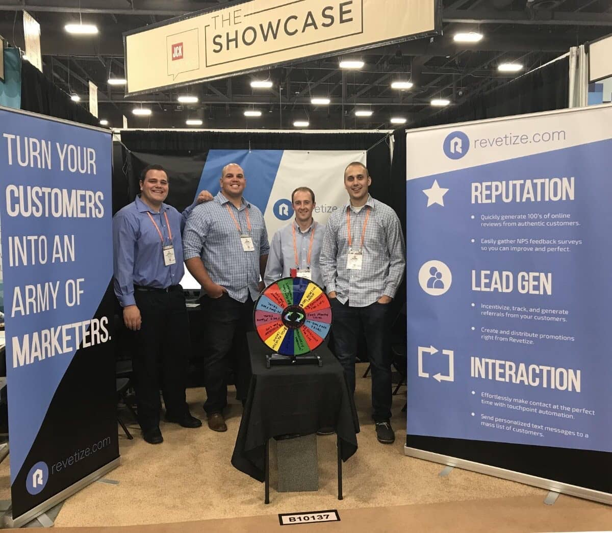 Richardson (left) and his team at a trade show