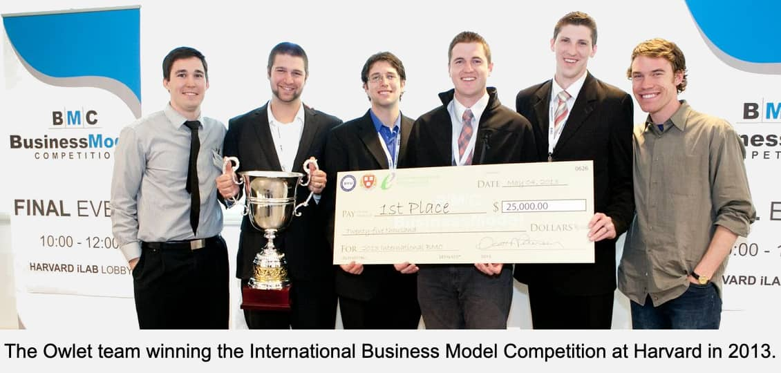 The Owlet team winning the International Business Model Competition at Harvard in 2013