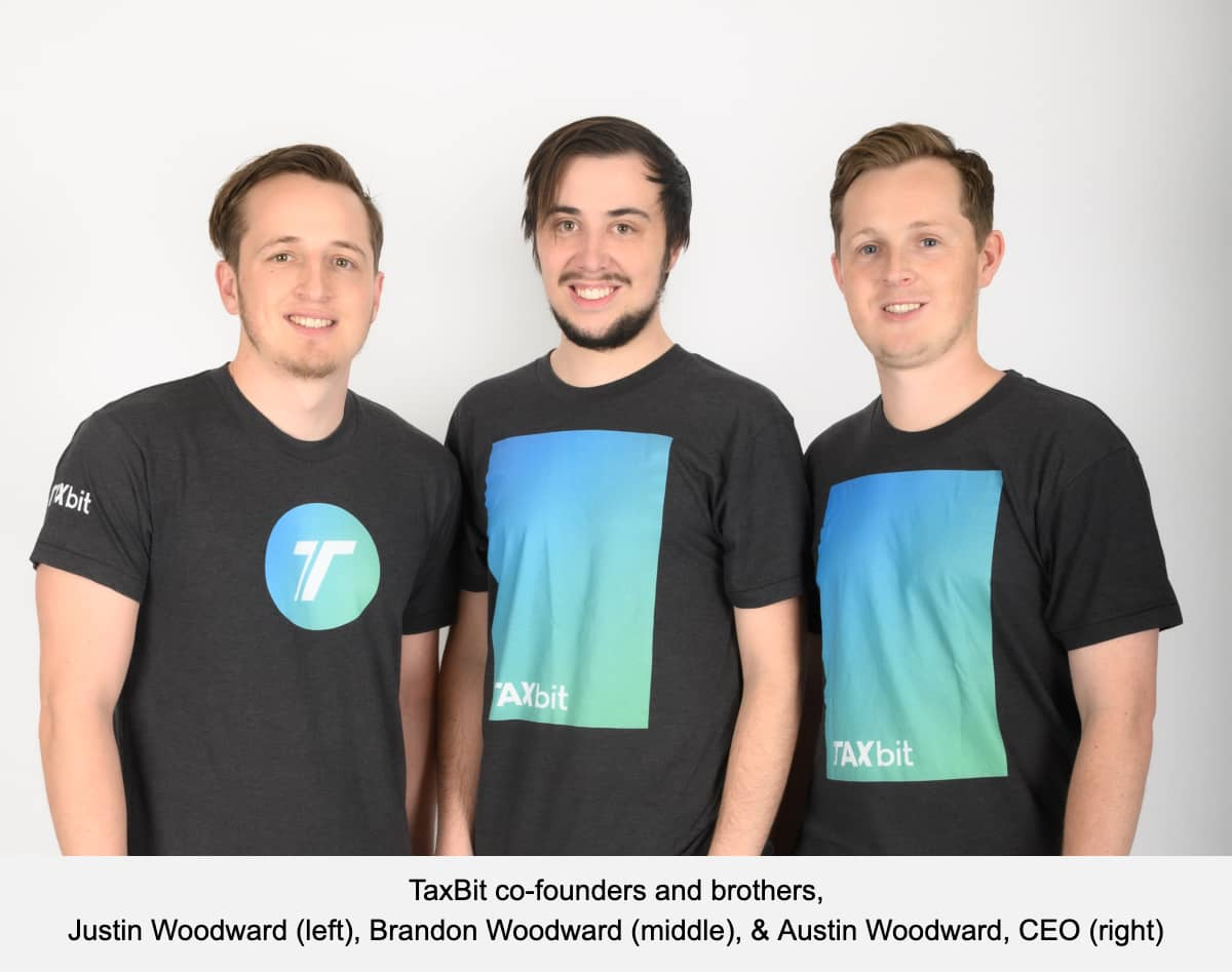 TaxBit co-founders and brothers, Justin Woodward (left), Brandon Woodward (middle), & Austin Woodward, CEO (right)