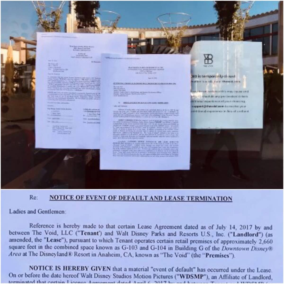 The VOID's Downtown Disney closure notice
