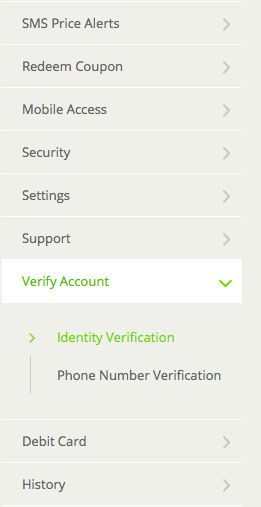 Verify Account tab