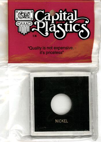 Nickel Capital Plastics Coin Holder Krown Black 2.5x2.5 Nickel Capital Plastics Coin Holder Krown Black, Capital, Krown