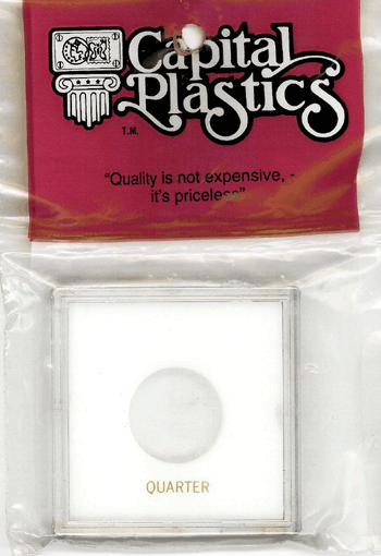 Quarter Capital Plastics Coin Holder Krown White 2.5x2.5