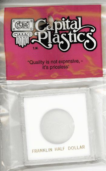 Franklin Half Dollar Capital Plastics Coin Holder Krown White 2.5x2.5 Franklin Half Dollar Capital Plastics Coin Holder Krown White, Capital, Krown