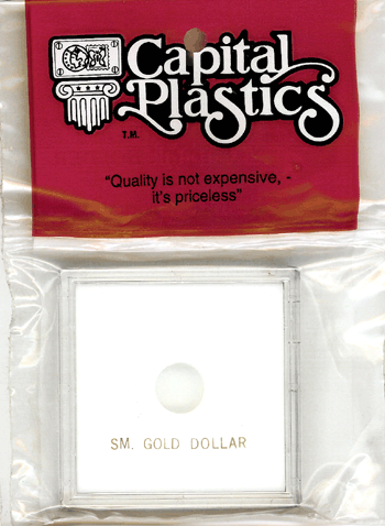 Small Gold Dollar  Capital Plastics Coin Holder Krown White 2.5x2.5 Small Gold Dollar  Capital Plastics Coin Holder Krown White, Capital, Krown