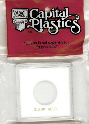 $10 Gold Capital Plastics Coin Holder Krown White 2.5x2.5 $10 Gold Capital Plastics Coin Holder Krown White, Capital, Krown