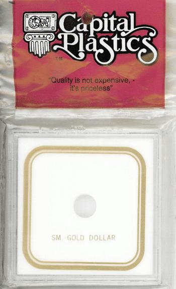 Small Gold Type 1 Dollar Capital Plastics Coin Holder VPX White 3.3x3.3 Small Gold Type 1 Dollar Capital Plastics Coin Holder VPX White, Capital, VPX