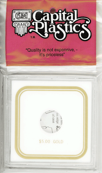 $5 Gold Capital Plastics Coin Holder VPX White 3.3x3.3 $5 Gold Capital Plastics Coin Holder VPX White, Capital, VPX