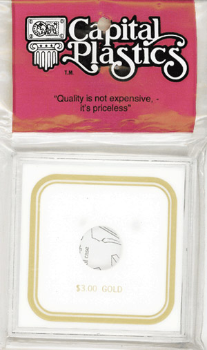 $3 Gold Capital Plastics Coin Holder VPX White 3.3x3.3 $3 Gold Capital Plastics Coin Holder VPX White, Capital, VPX