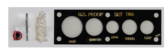 US Proof Set 1960 Sm Date Capital Plastics Holder Black 2x6 US Proof Set 1960 Sm Date Capital Plastics Holder Black, Capital, 11D Black
