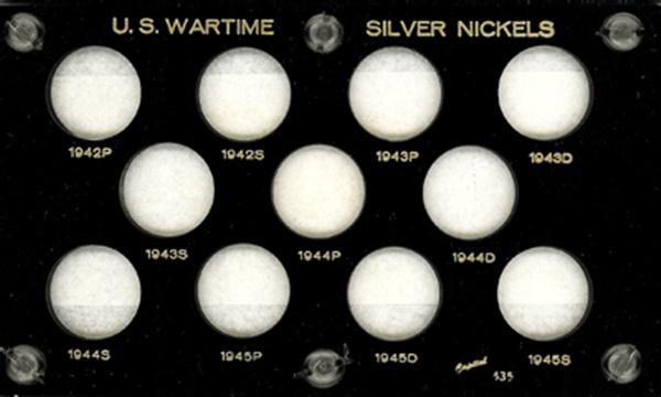 Capital Plastics Holder for 11 Wartime Silver Nickels - Black