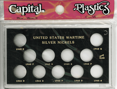 Wartime Silver Nickels Capital Plastics Coin Holder Black Snap Meteor Wartime Silver Nickels Capital Plastics Coin Holder Black Snap, Capital, MA 435