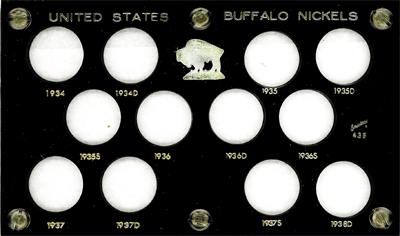 Buffalo Nickels 1934 Capital Plastics Coin Holder Black 3.5x6 Buffalo Nickels 1934 Capital Plastics Coin Holder Black, Capital, 436