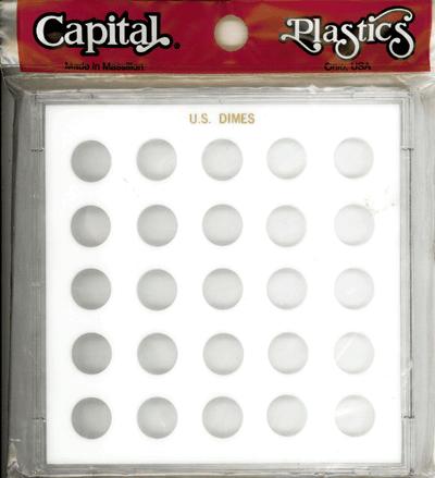 Dimes Capital Plastics Coin Holder White. Galaxy Dimes Capital Plastics Coin Holder White., Capital, GX51C