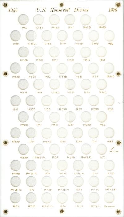 Roosevelt Dimes 1946 Capital Plastics Coin Holder White 8x14 Roosevelt Dimes 1946 Capital Plastics Coin Holder White, Capital, BVD10B