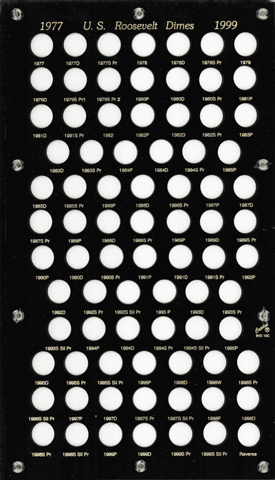 Roosevelt Dimes 1977 Capital Plastics Coin Holder Black 8x14 Roosevelt Dimes 1977 Capital Plastics Coin Holder Black, Capital, BVD10C