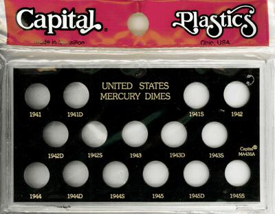 Mercury Dimes 1941 Capital Plastics Coin Holder Black Meteor Mercury Dimes 1941 Capital Plastics Coin Holder Black, Capital, MA436A