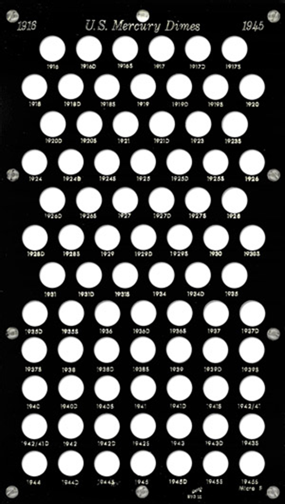 Mercury Dimes 1916 Capital Plastics Coin Holder Black 8x14 Mercury Dimes 1916 Capital Plastics Coin Holder Black, Capital, BVD10