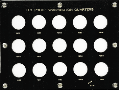 Washington Quarters 1950 Proof Capital Plastics Coin Holder Black 6X8 Washington Quarters 1950 Proof Capital Plastics Coin Holder Black, Capital, 456