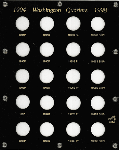 Washington Quarters 1994 Proof Capital Plastics Coin Holder Black 8x10 Washington Quarters 1994 Proof Capital Plastics Coin Holder Black, Capital, 464A