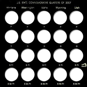 State Quarters 2007 Capital Plastics Coin Holder Black Galaxy State Quarters 2007 Capital Plastics Coin Holder Black, Capital, GXSQ-2007