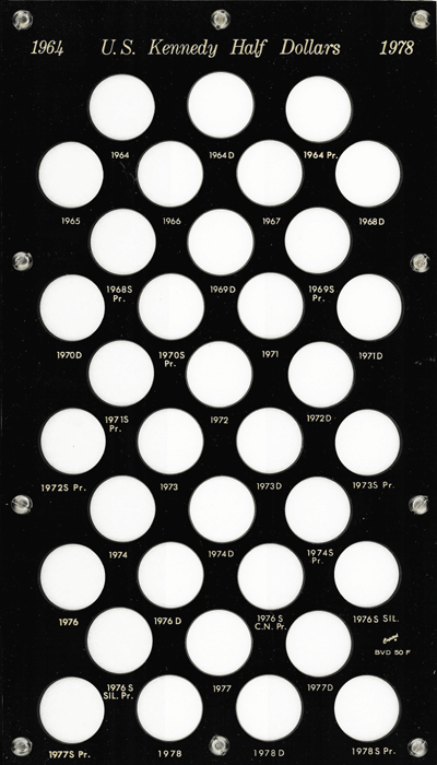 Kennedy Half Dollars 1964 Capital Plastics Coin Holder Black 8x14 Kennedy Half Dollars 1964 Capital Plastics Coin Holder Black, Capital, BVD50F