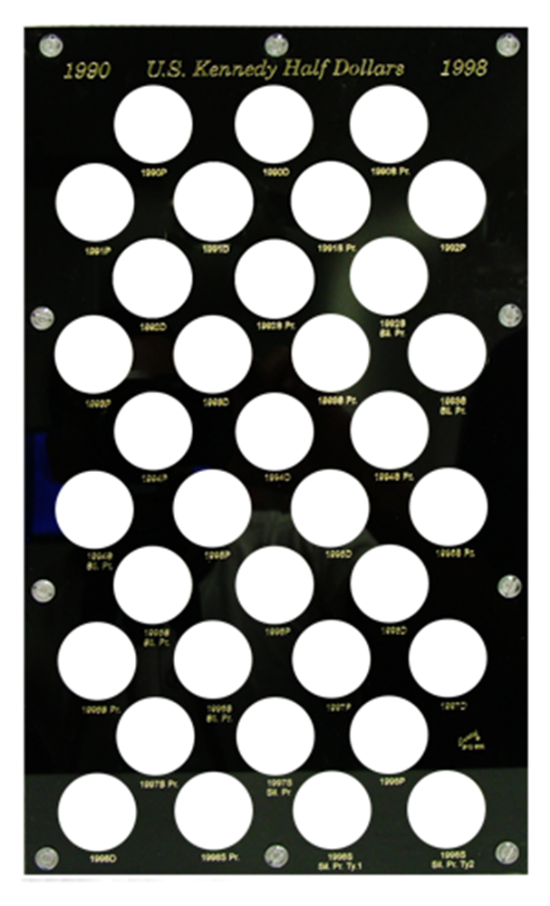 Kennedy Half Dollars 1990 Capital Plastics Coin Holder Black 8x14 Kennedy Half Dollars 1990 Capital Plastics Coin Holder Black, Capital, BVD50K