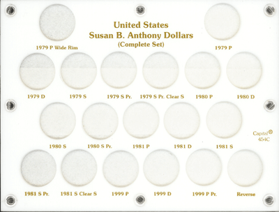 Susan B Anthony Complete Set Capital Plastics Coin Holder White 6x8 Susan B Anthony Complete Set Capital Plastics Coin Holder White, Capital, 454C
