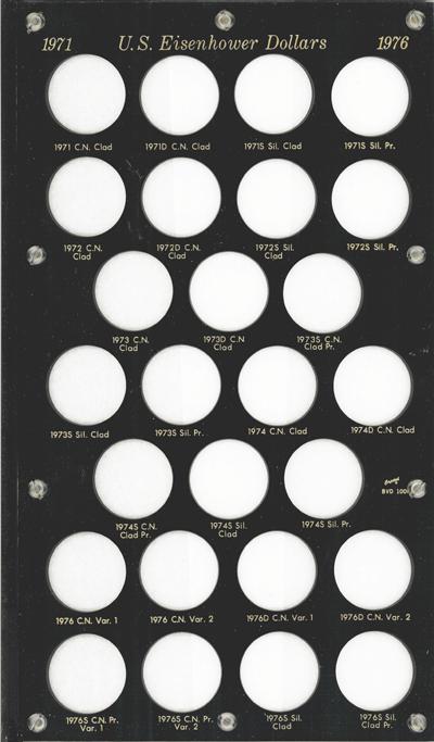 Eisenhower Dollars 1971 Capital Plastics Coin Holder Black 8x14