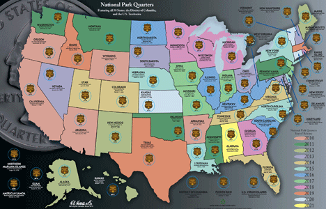 Collectors Map for National Park Quarters 2010 - 2021