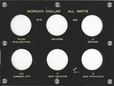 Morgan Dollar All Mints Capital Plastics Coin Holder Black 6x8