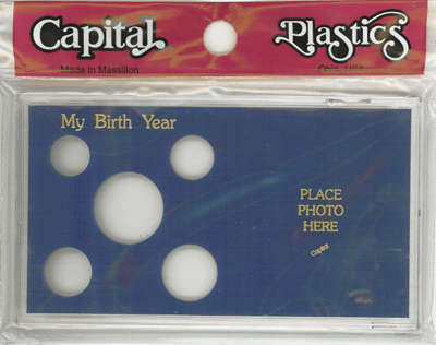 My Birth Year Capital Plastics Photo / 5 Coin Holder Blue Meteor My Birth Year Capital Plastics Photo / 5 Coin Holder Blue, Capital, MA32 Blue