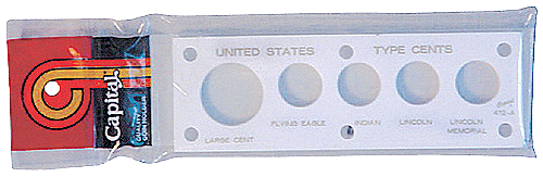 US Type Cents Capital Plastics Coin Holder White 2x6 US Type Cents Capital Plastics Coin Holder White, Capital, 412A White