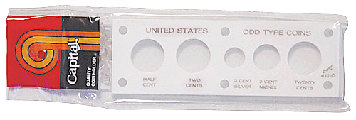 US Odd Type Coins Capital Plastics Coin Holder White 2x6 US Odd Type Coins Capital Plastics Coin Holder White, Capital, 412D